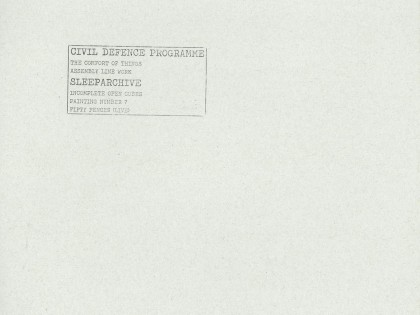 Civil Defence Programme & Sleeparchive – S/T